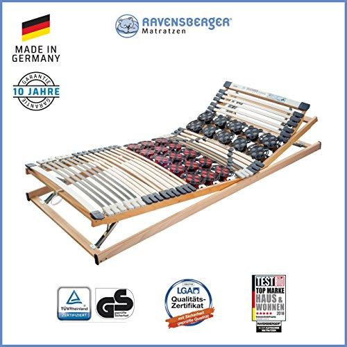 Ravensberger Matratzen Duomed® Lattenrost | 7-Zonen-Buche-Teller-Lattenrahmen | Teller und Leisten| verstellbar| MADE IN GERMANY - 10 JAHRE GARANTIE | TÜV/GS 100x200 cm