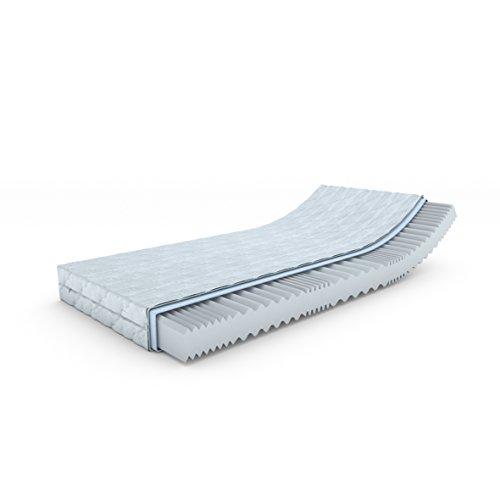 MSS® Aqua VitalFoam® 7 Zonen Matratze - H3 - 200x140 cm / 7 Zonen Wellen Kaltschaum Wellenschnitt mit versteppten Klimafaserbezug waschbar bis 60 Grad / H3