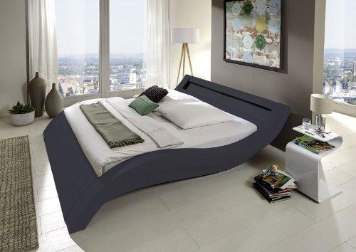 SAM Polsterbett 180x200 cm Look, grau, Bett aus Kunstleder, LED-Beleuchtung im Kopfteil, geschwungene Optik, als Wasserbett geeignet