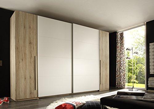 Stella Trading Match 4-türiger Kleiderschrank, Holz, san remo/weiß, 61 x 315 x 225 cm