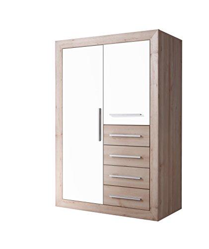 Stella Trading Fernando 2-türiger Kleiderschrank, Holz, buche / weiß, 57 x 107 x 161 cm
