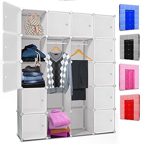 Kesser® DIY Kleiderschrank Schrank Steckregal ✓ Schuhschrank ✓ Regalsystem ✓ Garderobe | Belastbar | Größe: 20 Boxen / 1000 Liter | Farbe: Weiß