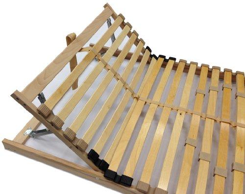 7 Zonen Lattenrost 140x200 cm, 28 Leisten, Härte- und Kopfteil verstellbar mit Mittelgurt, 180 kg - (140x200 cm)