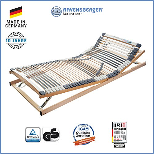 Ravensberger Matratzen Medimed® Lattenrost   7-Zonen-Buche-Lattenrahmen   44 Leisten  verstellbar  MADE IN GERMANY - 10 JAHRE GARANTIE   TÜV/GS 90x200 cm