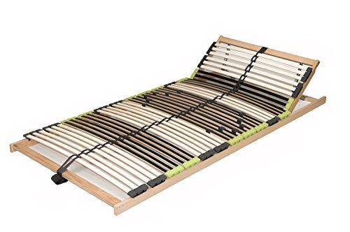 DaMi 7 Zonen Lattenrost Lattenrahmen zerlegt Lattenrost Relax Kopf mit 42 Federholzleisten und Kopfverstellung (90 x 200 cm)