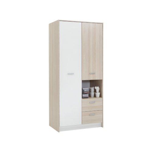 FMD Möbel 806-006 Kleiderschrank Madagaskar 6 (B/H/T) 90.0 x 199.0 x 56.0 cm, esche/weiß