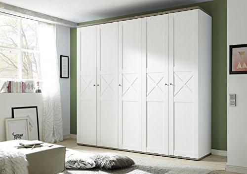Stella Trading Stockholm 5-Türiger Kleiderschrank, Holz, Anderson Pine / Trüffel, 59 x 243 x 226 cm
