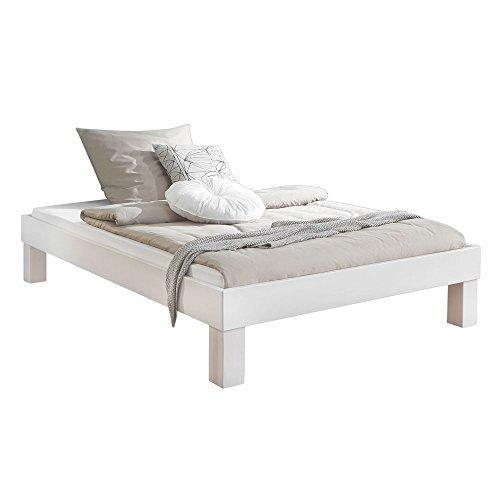 Bett Manuela 100 x 200cm Futonbett Buche massiv white wash Einzelbett Jugendbett Kinderbett Gästebett ohne Kopfteil