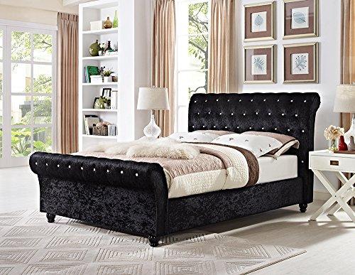 Lifestyle Furniture Chesterfield King Size Schlitten Designer Bett in Schwarz Samt