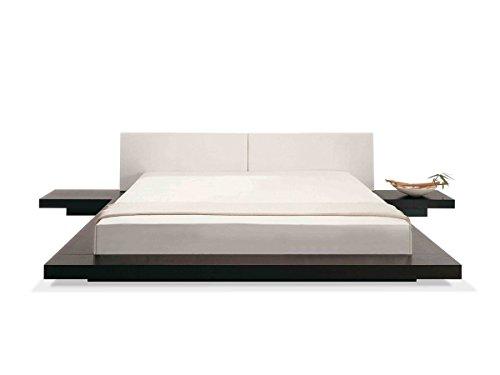 Designer Massivholz Bett Japan Stil flaches Futonbett japanisches Holzbett Walnuss mit Lattenrost / Lattenrahmen günstig (180x200 cm)
