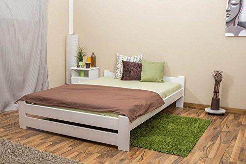 Futonbett/Massivholzbett Kiefer Vollholz massiv weiß lackiert A9, inkl. Lattenrost - Abmessung 140 x 200 cm