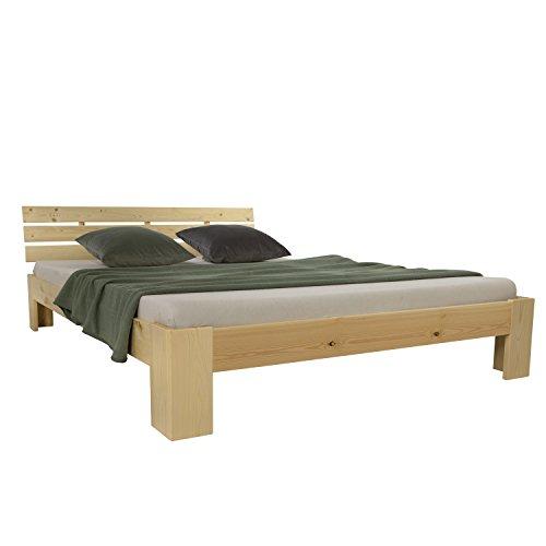 Homestyle4u 1839 Holzbett 180x200 cm Natur Doppelbett mit Lattenrost aus Kiefer Massivholz