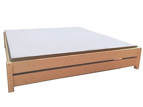 LIEGEWERK Premium Futon Bett Holz Massiv Holzbett für Hohe Matratzen 90 100 120 140 160 180 200 x 200cm Hergestellt in BRD (180cm x 200cm)