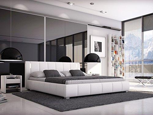 SAM Designer-Polsterbett 180x200 cm Leon, weiß, mit gepolstertem hohen Kopfteil, LED-Beleuchtung in modernem Design