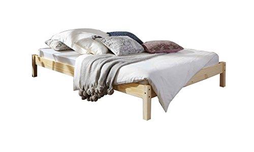 SAM Futonbett 140x200 cm Sina, Gästebett, massives Bett aus Kiefer, Kiefernholz, Zeitlose Optik für Ihr Schlafzimmer