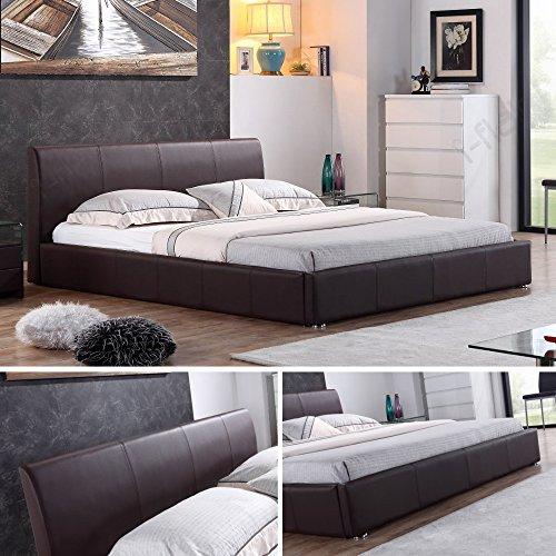 i-flair - Designer Polsterbett, Bett Monaco 140cm x 200cm Braun - Alle Farben & Größen