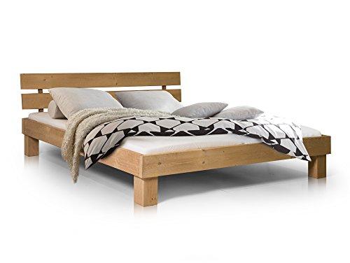 moebel-eins Pumba Doppelbett aus massiver Fichte, Hochwertige Verarbeitung, Einfacher Aufbau, Made in Germany, 160x200 cm, eichefarbig