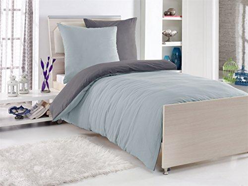 4-Teilige hochwertige Renforcé-Bettwäsche UNI-WENDE in anthrazit/silber 2x 135x200 Bettbezug + 2x 80x80 Kissenbezug , 100% Baumwolle