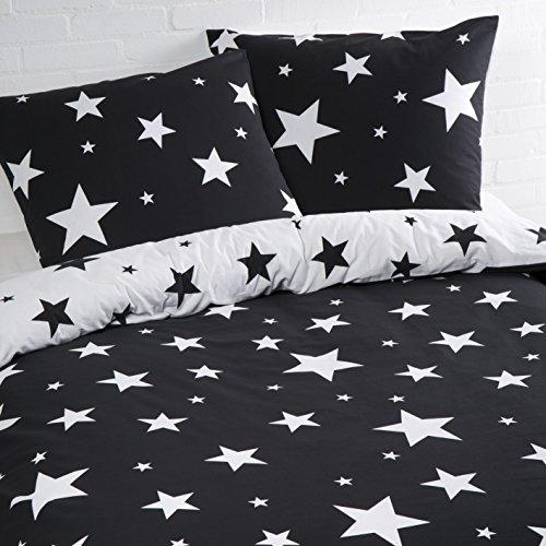 Aminata – Bettwäsche Sterne 135x200 cm Baumwolle + Reißverschluss zum Wenden Sternenmotiv Sternchen Stars Schwarz Weiß Wendebettwäsche 2-teiliges Bettwäscheset Ganzjahr Normalgröße Jungen Mädchen
