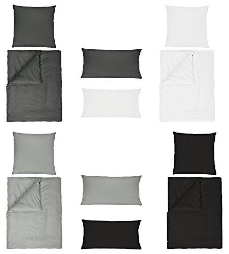 Baumwolle Renforce UNI Bettwäsche 2 teilig 155x220 + 80x80 cm mit Reißverschluss in 4 Farben Anthrazit