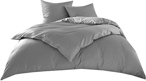 Bettwaesche-mit-Stil Hotelbettwäsche Garnitur Lia Linon/Renforcé 100% Baumwolle Uni Einfarbig mit Reißverschluss (135 x 200 + 80 x 80 cm, Grau)