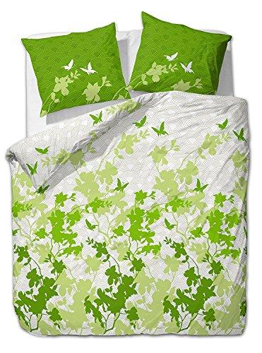 Etérea 2 tlg Renforcé Bettwäsche-Set Osaka Schmetterlinge Grün - 100% Baumwolle Bettwäsche, 135x200 cm + 80x80 cm