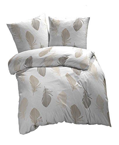 Etérea 3 tlg Renforcé Baumwolle Bettwäsche Federn Weiß Braun Grau, 200x200 cm + 2 x 80x80 cm