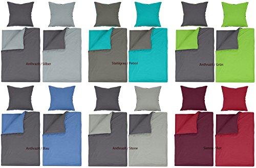 Naturawalk Renforcé Bettwäsche 2 od. 4 tlg. Garnitur 100% Baumwolle mit RV und gratis Gesichtstuch- Grösse 4 tlg. 135x200cm, Farbe Anthrazit/Stone