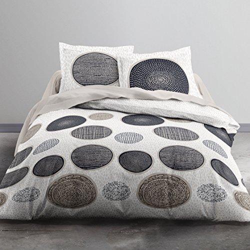 Today 012286Hello Zeichnung Massai Bettwäsche 2Personen + 2Kissenbezüge Baumwolle beige/grau/taupe 220x 240cm