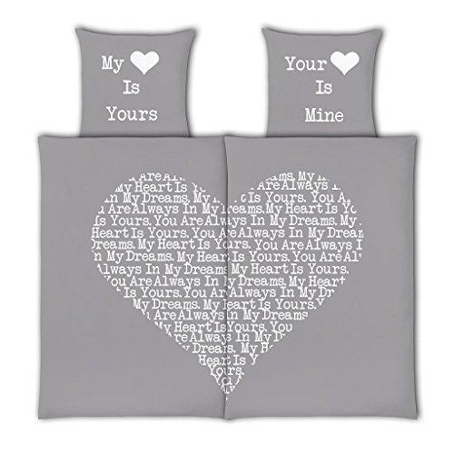VS Home Partner-Bettwäsche Heart Herz Valentinstag / 100% Baumwolle / 4-teilig / 135cm x 200 cm / in verschiedenen Farben erhältlich, Webart:Renforcé, Farbe:silber, Größe:135 cm x 200 cm