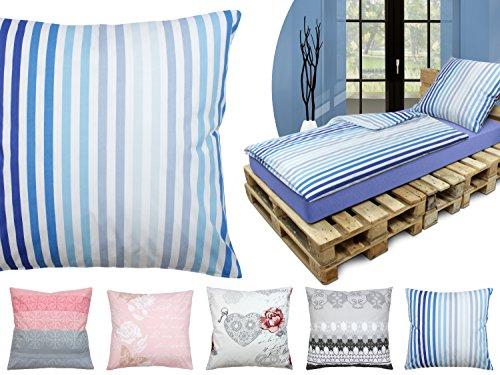 npluseins Baumwoll-Bettwäsche - mit Verschiedenen Motiven - Set - mit 1 Kissenbezug ca. 80 x 80 cm und 1 Bettdeckenbezug ca. 135 x 200 cm, Streifen Azur