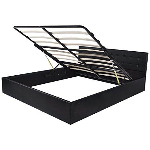 vidaXL Kunstlederbett Doppelbett Gasdruckfeder-Bettkasten Lattenrost 180×200 cm