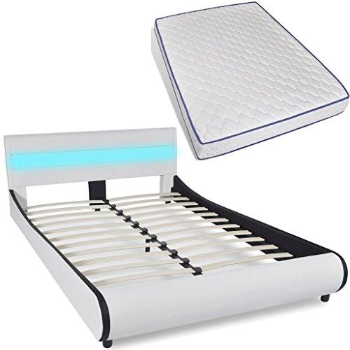 vidaXL Polsterbett LED Kunstleder Doppelbett Ehebett 140cm mit Memory-Matratze