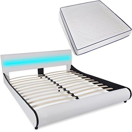 vidaXL Polsterbett LED Kunstleder Doppelbett Ehebett 180 cm mit Memory-Matratze