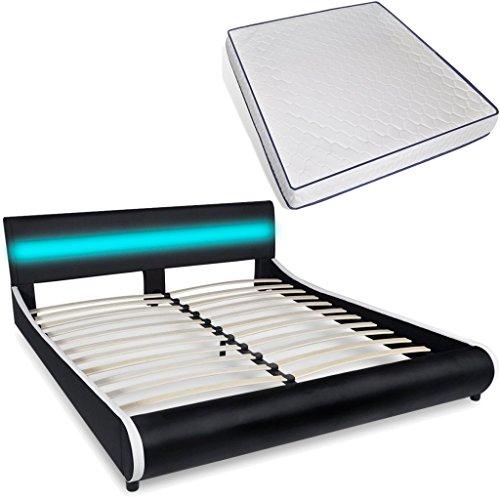 vidaXL Polsterbett LED Kunstleder Ehebett Doppelbett 180cm mit Memory-Matratze