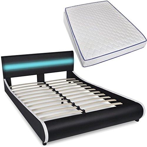 vidaXL Polsterbett LED Kunstlederbett Ehebett Doppelbett 140cm Memory-Matratze