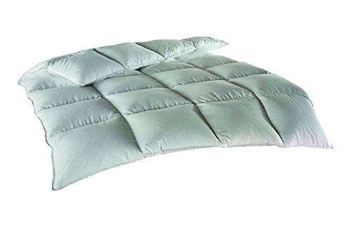 Betten Duscher 700036 Steppbett Highland, 135 x 200 cm, Bezug 100% Baumwolle, Füllung 1500 g, halbweiße Federn und Daunen, 4 x 6 Kassetten, weiß