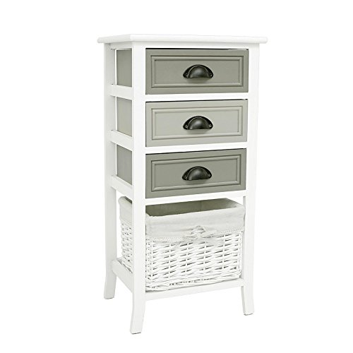 CARO-Möbel Kommode Mehrzweckschrank Anrichte Toscana in weiß, Shabby Chic Vintage Look, Schubladenkommode mit 3 Schubladen und Korb