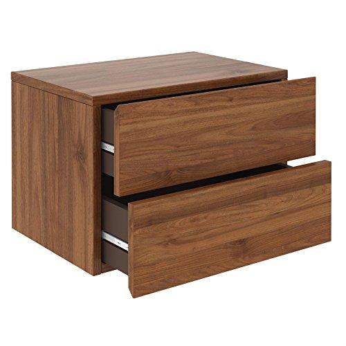 CARO-Möbel Nachtkommode ANNI Nachttisch Nachtschrank Hängend Wandregal mit 2 Schubladen in nussbaum