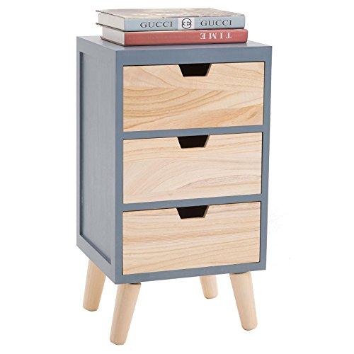 CARO-Möbel Nachttisch Bahia im skandinavischen Design Nachtschrank Nachtkonsole für Boxspringbett in Grau/Natur, 3 Schubladen Vintage Retro
