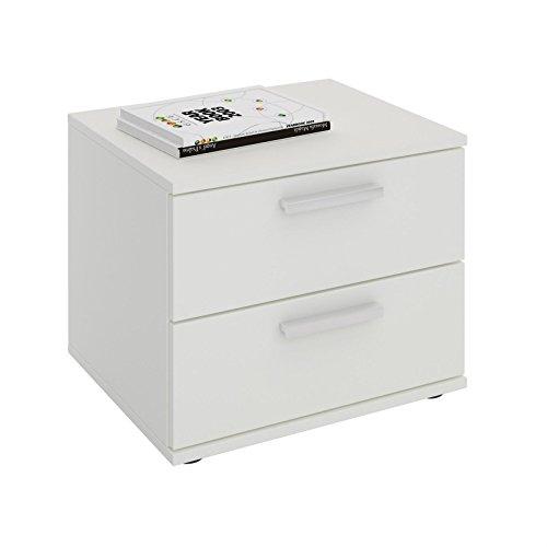 CARO-Möbel Nachttisch Maxima Nachtschrank Nachtkommode Konsole mit 2 Schubladen in Weiß