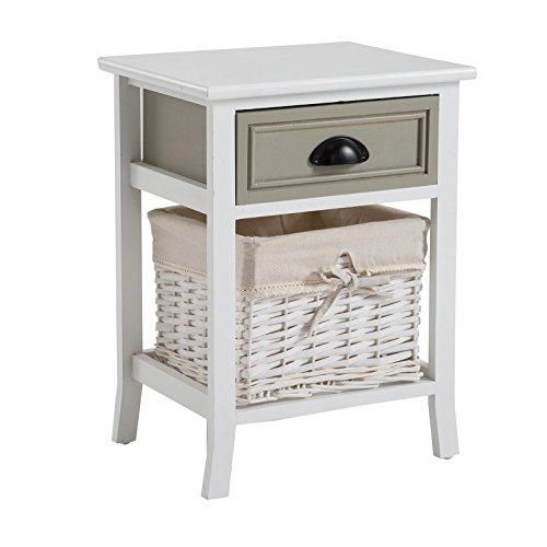 CARO-Möbel Nachttisch Nachtschrank Nachtkommode Toscana in Weiß, Shabby Chic Vintage Lookl, mit 1 Schublade und Korb