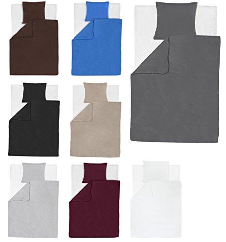 2-tlg. Jersey Bettwäsche / Bettdecke und Kissenbezug Set 100% Baumwolle Unifarben mit YKK Reißverschluss (Schwarz, 155x200cm (1xBettwäsche) + 80x80cm (1xKissenbezug)