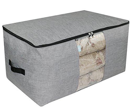 91L Jumbo Polyester Speicher Organizer Tasche, Mothy und wasserdicht Haushalt Container für Schrank, Regale für Kleidung, Pullover, Bettdecken, Decken, hellgrau