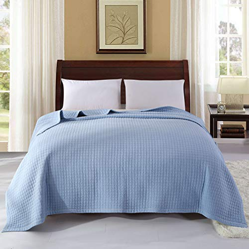 Alicemall Tagesdecke 200x230 cm Bettüberwurf Baumwolle Gesteppt Steppdecke Quilt für Doppebett Sofa Patchwork - Blau