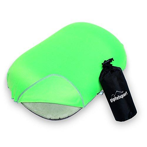 Aufblasbares Camping Kissen mit Bezug von gipfelsport - ultraleichtes Reisekissen   Farbe grün   Ideal für die nächste Reise, am Strand, beim Zelten oder im Flugzeug