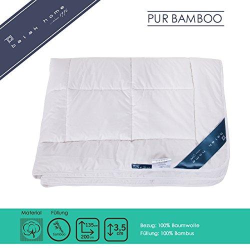 BALAK HOME® Premium Bettdecke Steppdecke Pure Bamboo (135 x 200 cm) aus 100% Baumwolle mit Hochwertiger 100% Bambus Füllung - leicht | Echte Bambus-Fasern | Gesundes und wohliges Schlafklima