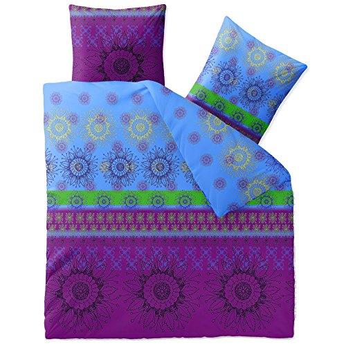 Bettwäsche 3tlg 200x220 Baumwolle Set Kopfkissen Bettbezug Reißverschluss atmungsaktiv Bett Garnitur 80x80 Kissen Bezug CelinaTex 0002676 Fashion Laureen schwarz blau grün lila violett