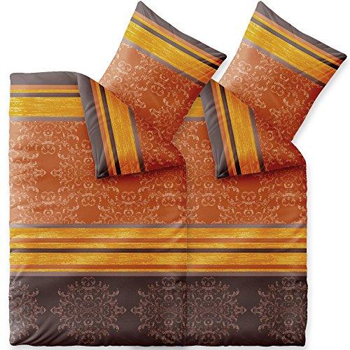 Bettwäsche 4tlg 135x200 Baumwolle Set Kopfkissen Bettbezug Reißverschluss atmungsaktiv Bett Garnitur 80x80 Kissen Bezug CelinaTex 0003717 Fashion Natalie grau beige braun