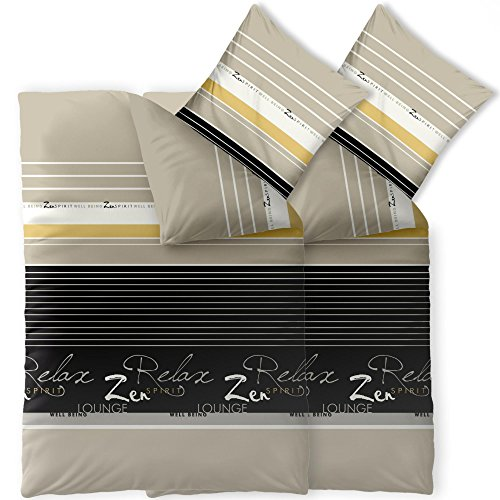 Bettwäsche 4tlg 135x200 Baumwolle Set Kopfkissen Bettbezug Reißverschluss atmungsaktiv Bett Garnitur 80x80 Kissen Bezug CelinaTex 0003725 Fashion Lian grau schwarz beige natur weiß Streifen Schrift Text